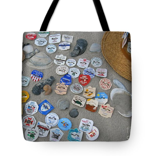 Sea Isle City Beach Tags Tote Bag by Nancy Patterson