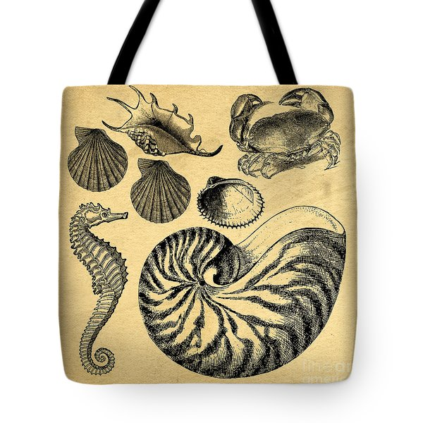 Tote Bag featuring the drawing Sea Life Vintage Illustrations by Edward Fielding
