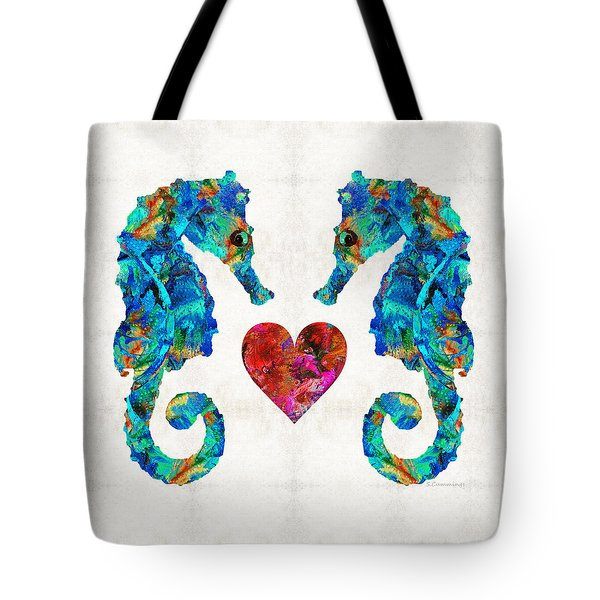 Sea Lovers - Seahorse Beach Art By Sharon Cummings Tote Bag