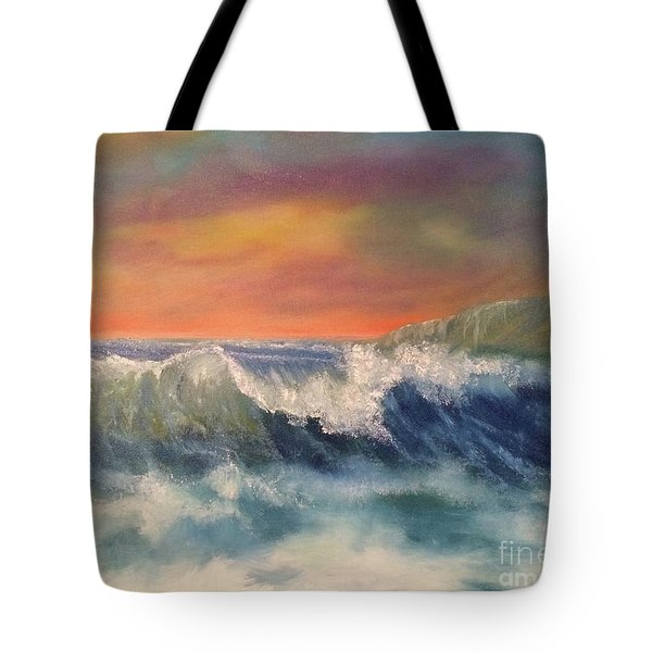 Tote Bag featuring the painting Sea Mist by Denise Tomasura