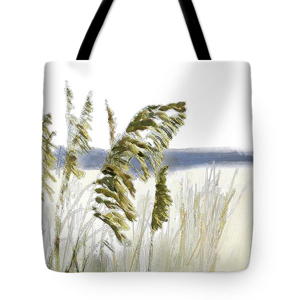 Tote Bag featuring the digital art Sea Oats by Gina Harrison
