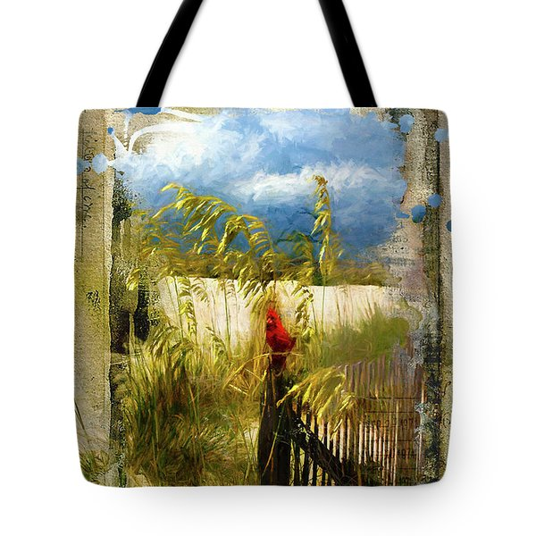 Sea Oats With Cardinal Tote Bag