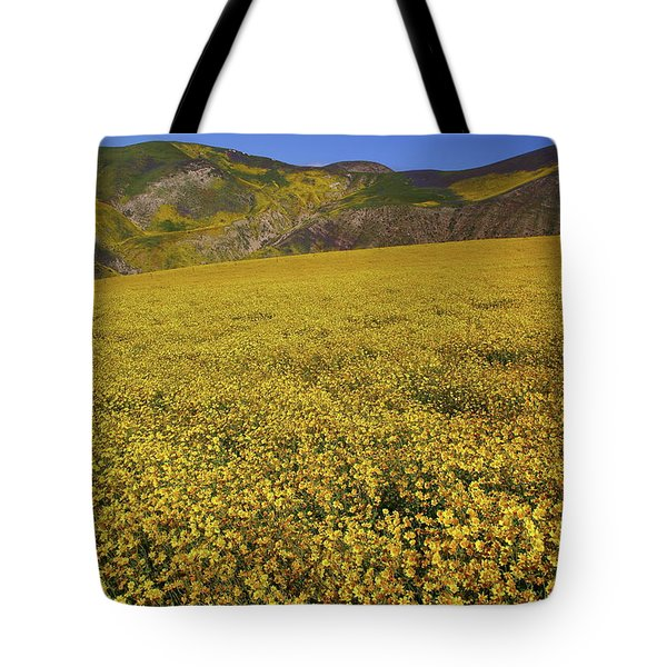 Tote Bag featuring the photograph Sea Of Yellow Up In The Temblor Range At Carrizo Plain National Monument by Jetson Nguyen