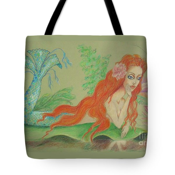 Sea Siren, Resting -- Whimsical Mermaid Drawing Tote Bag