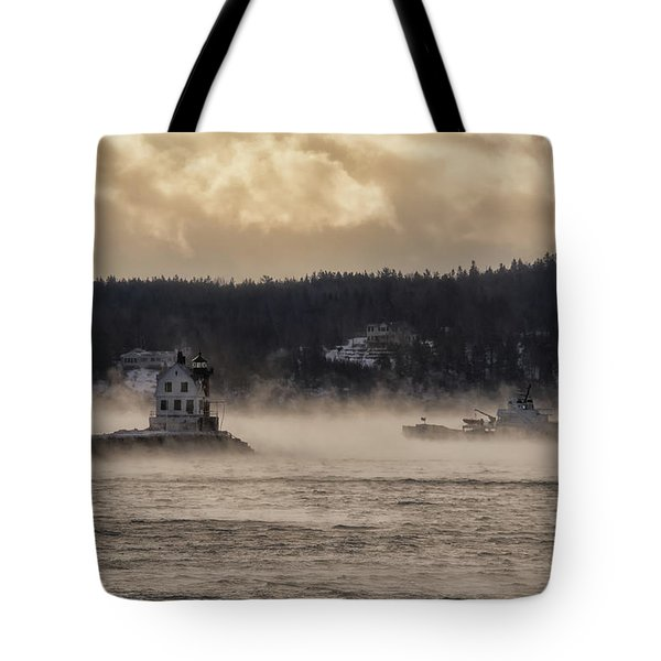 Sea Smoke At Rockland Breakwater Light Tote Bag