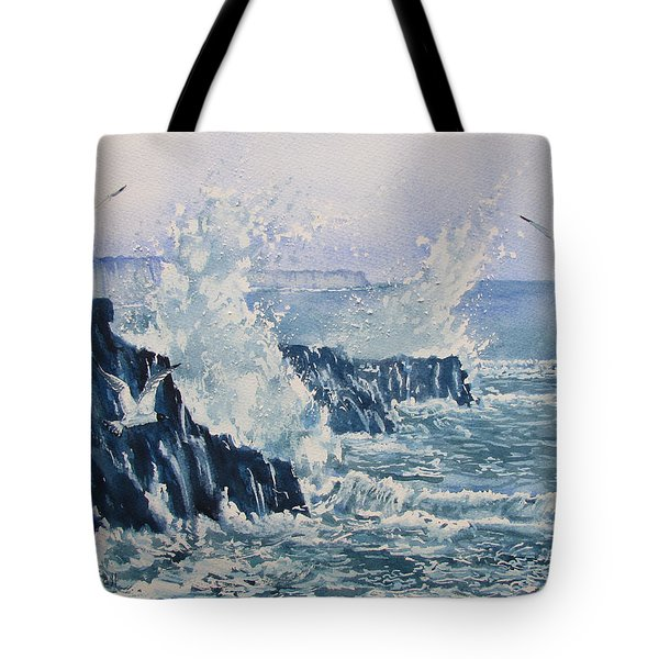Sea, Splashes And Gulls Tote Bag