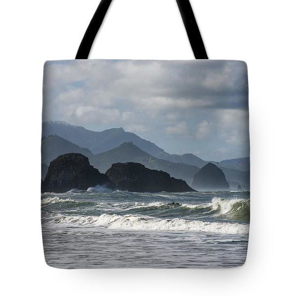 Sea Stacks And Surf Tote Bag