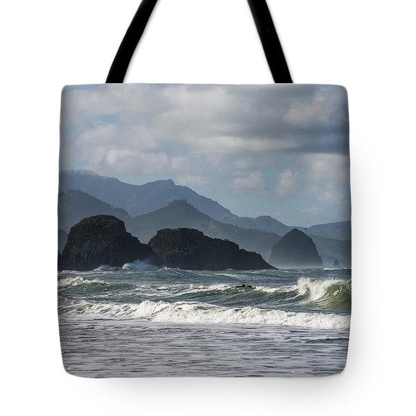 Sea Stacks And Surf Tote Bag