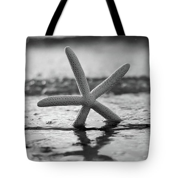 Tote Bag featuring the photograph Sea Star Bw Vert by Laura Fasulo