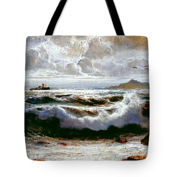 Tote Bag featuring the painting Sea Storm by Rosario Piazza