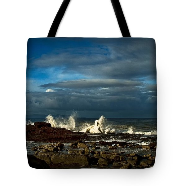 Tote Bag featuring the photograph Sea The Sky And Rocks by Joseph Hollingsworth