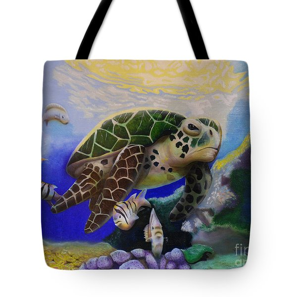 Sea Turtle Acrylic Painting Tote Bag