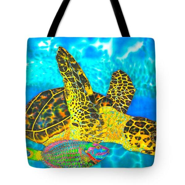 Sea Turtle And Parrotfish Tote Bag