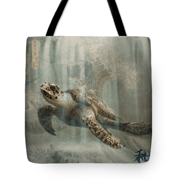 Sea Turtle Great Wave Tote Bag by Karla Beatty