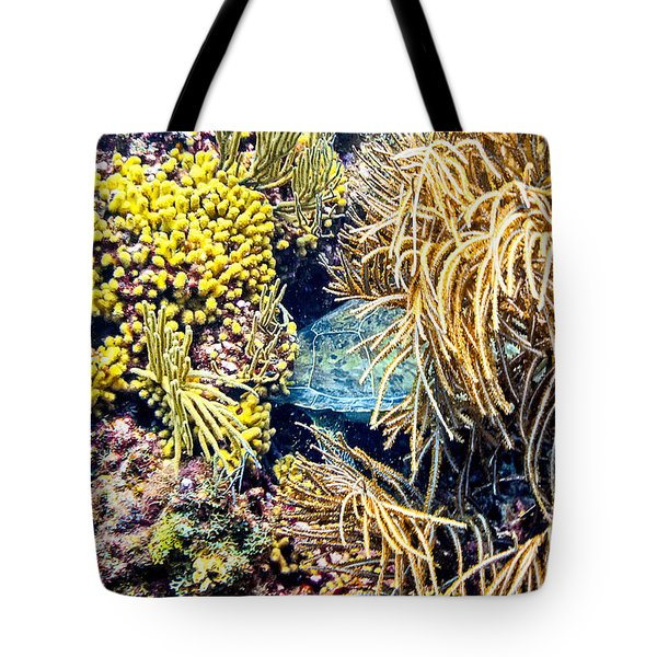 Tote Bag featuring the photograph Sea Turtle Hiding by Perla Copernik
