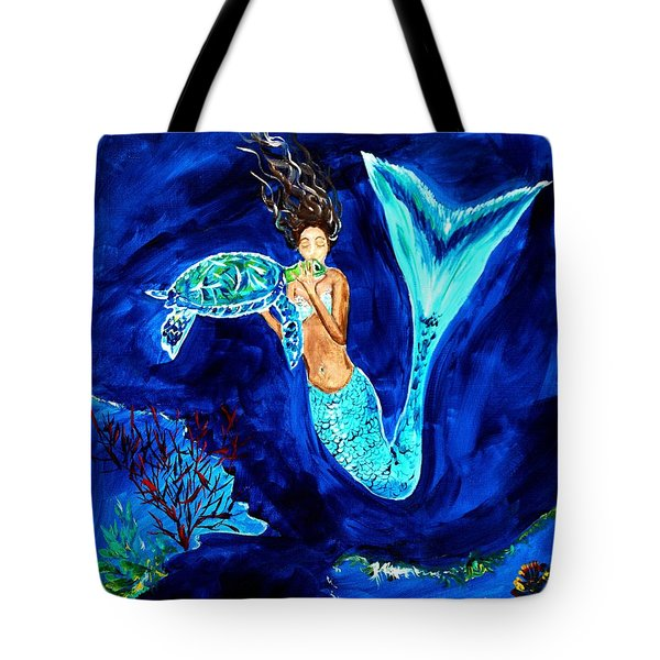 Sea Turtle Kiss Tote Bag by Leslie Allen