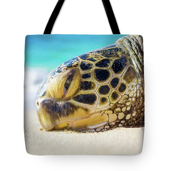 Sea Turtle Resting At The Beach Tote Bag