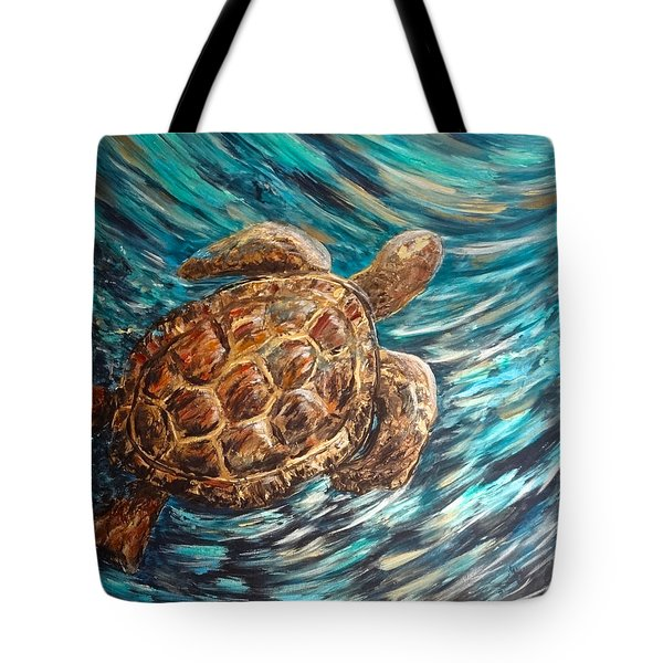 Sea Turtle Wave Guam Tote Bag