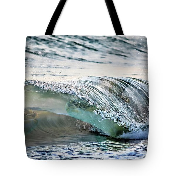 Sea Turtles In The Waves Tote Bag by Barbara Chichester