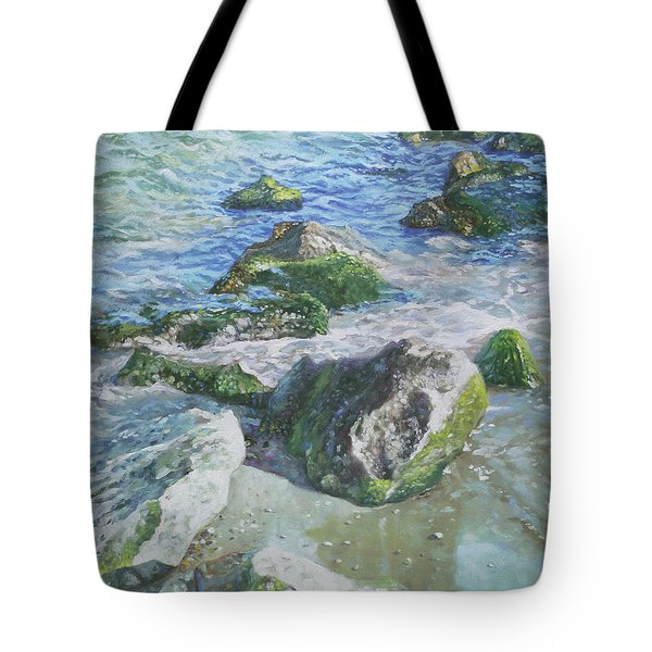 Tote Bag featuring the painting Sea Water With Rocks On Shore by Martin Davey