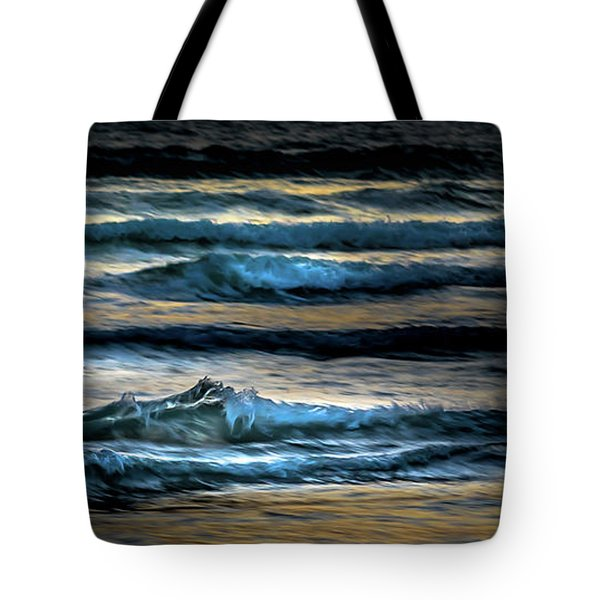 Sea Waves After Sunset Tote Bag