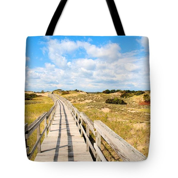 Seabound Boardwalk Tote Bag by Debbie Stahre