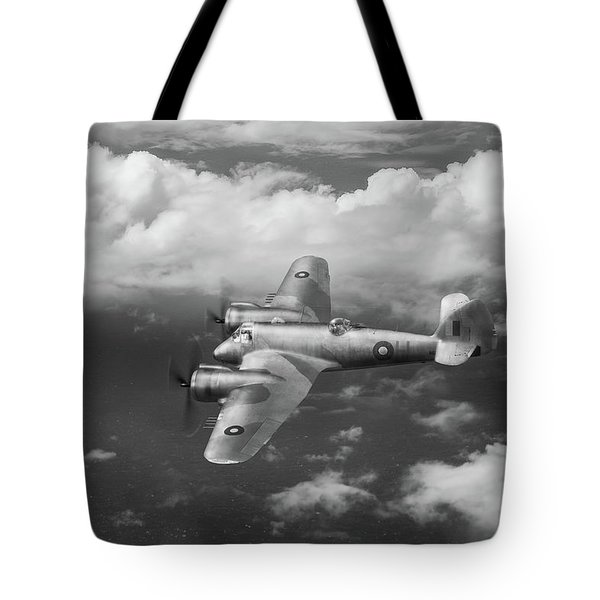 Tote Bag featuring the photograph Seac Beaufighter Bw Version by Gary Eason