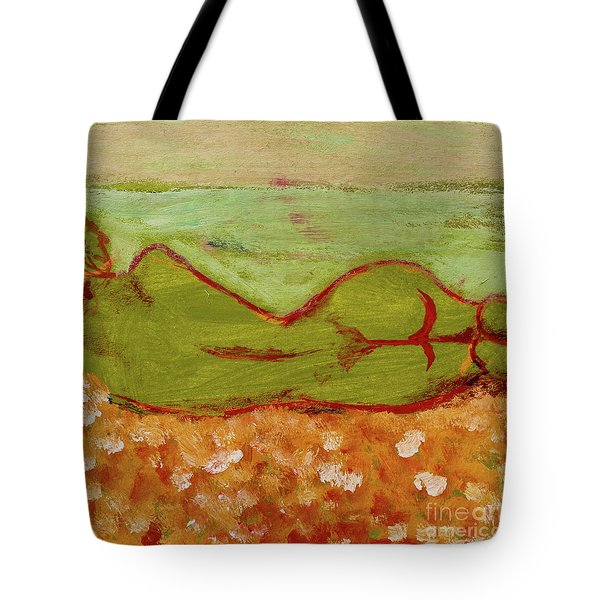Tote Bag featuring the painting Seagirlscape by Paul McKey