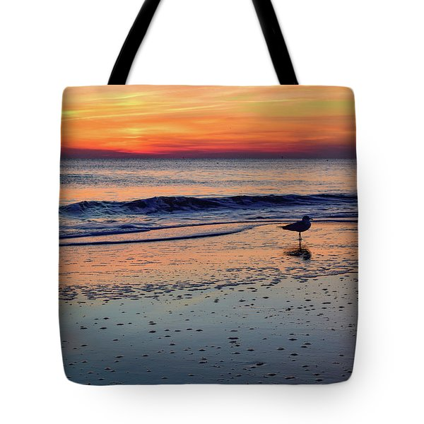 Seagull At Sunrise Tote Bag