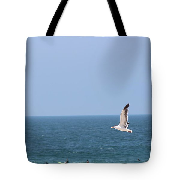 Seagull Flying Over Huntington Beach Tote Bag