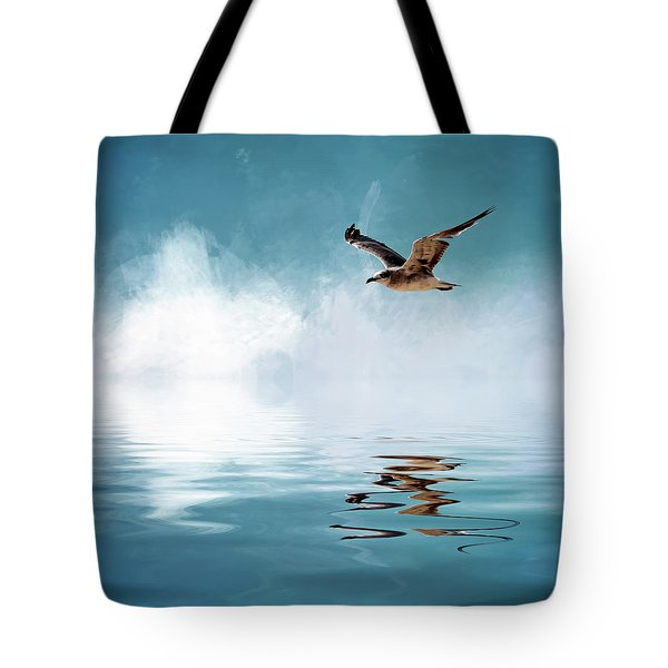 Seagull In Flight Tote Bag by Cyndy Doty