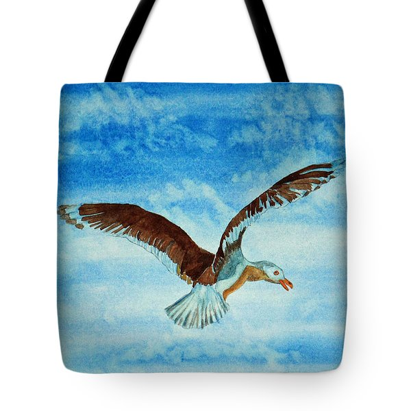 Seagull In Flight Tote Bag by Terri Mills