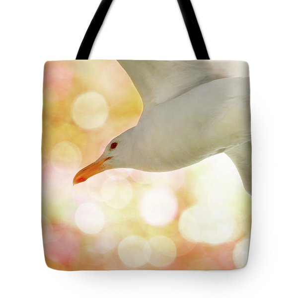 Seagull On Pink And Yellow Sky Tote Bag