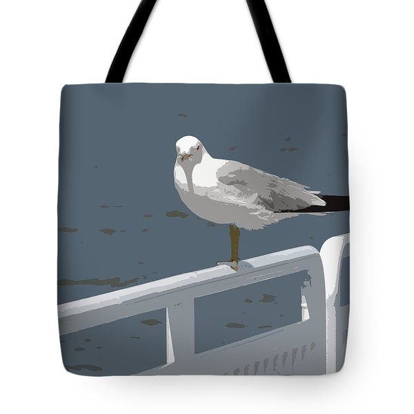 Seagull On The Rail Tote Bag