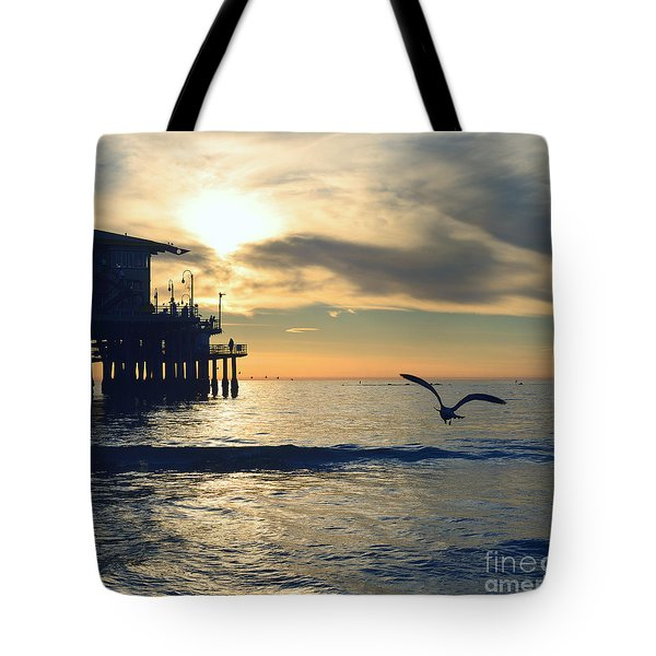 Seagull Pier Sunrise Seascape C2 Tote Bag