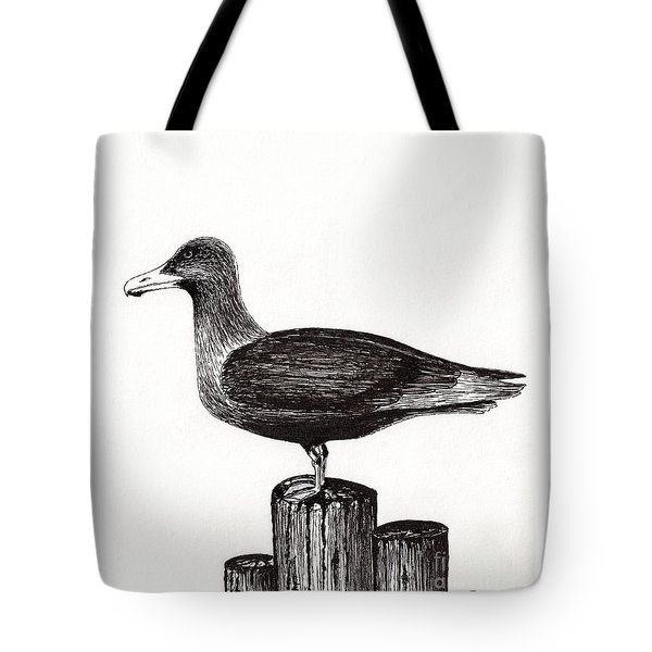 Seagull Portrait On Pier Piling E3 Tote Bag by Ricardos Creations