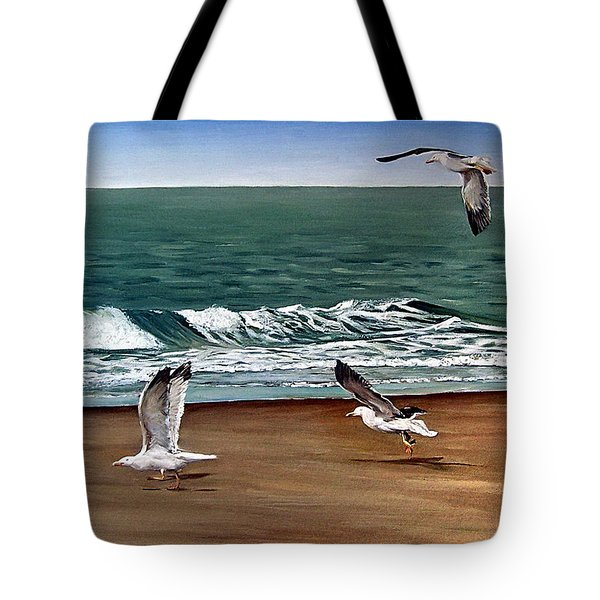Tote Bag featuring the painting Seagulls 2 by Natalia Tejera