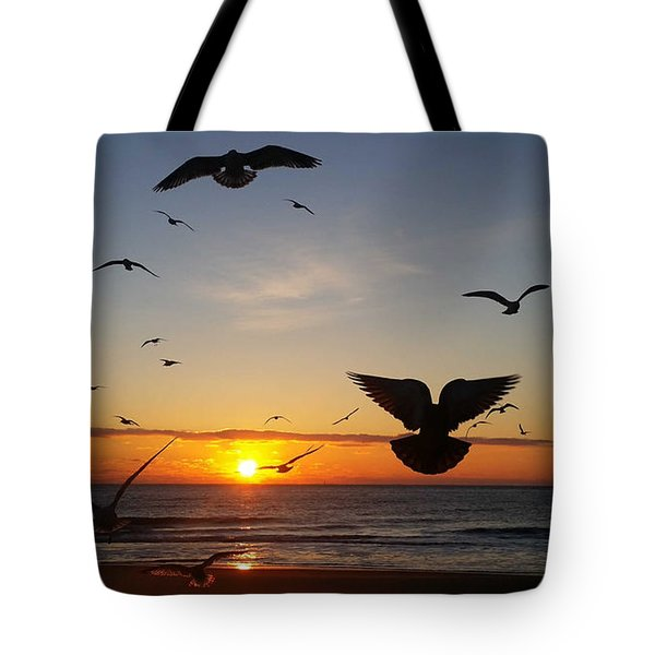 Seagulls At Sunrise Tote Bag