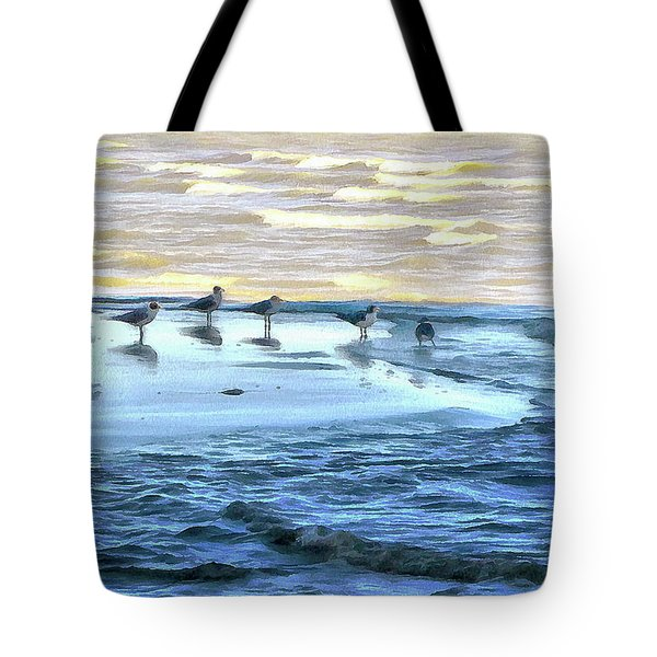 Seagulls At Waters Edge Tote Bag