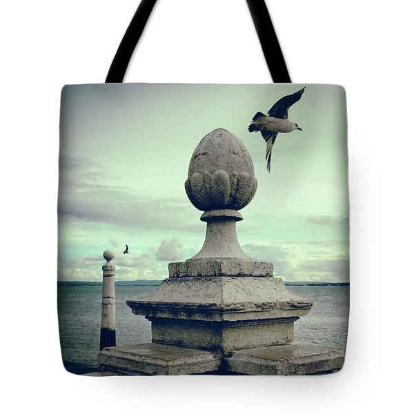 Tote Bag featuring the photograph Seagulls In Columns Dock by Carlos Caetano