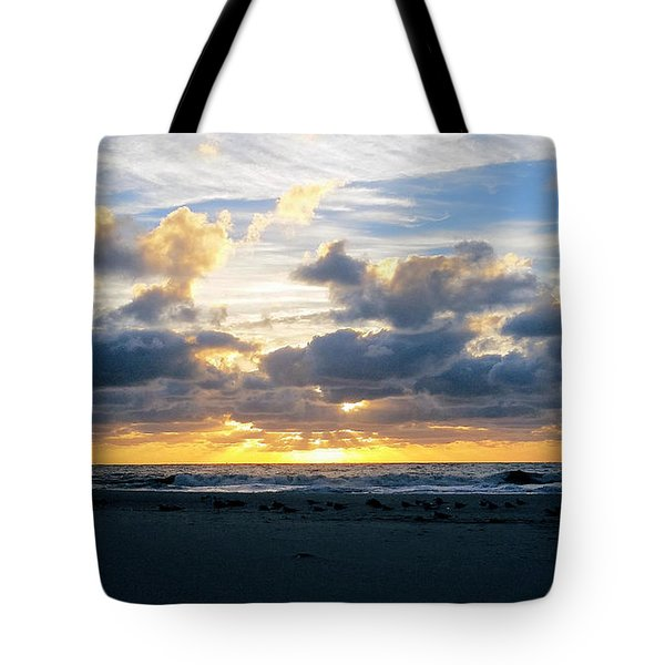 Seagulls On The Beach At Sunrise Tote Bag