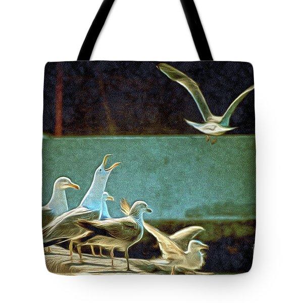 Seagulls On The Beach Tote Bag