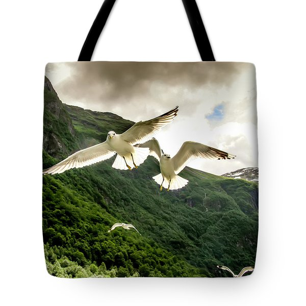 Tote Bag featuring the photograph Seagulls Over The Fjord by KG Thienemann