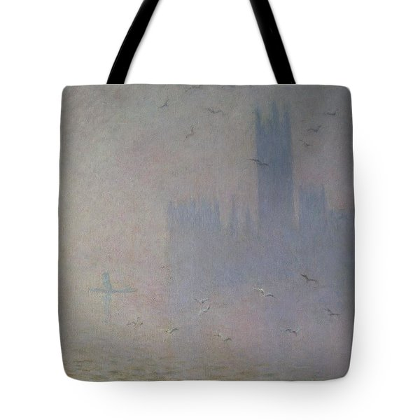 Seagulls Over The Houses Of Parliament Tote Bag by Claude Monet