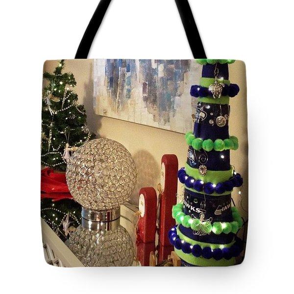 Tote Bag featuring the photograph Seahawk Christmas by Judyann Matthews