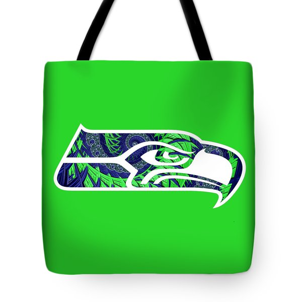 Tote Bag featuring the digital art Seahawks Fractal by Becky Herrera