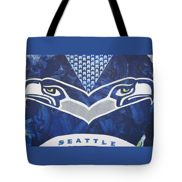 Tote Bag featuring the painting Seahawks Helmet by Candace Shrope