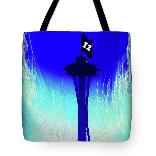 Seahawks Sunset At The Space Needle Tote Bag