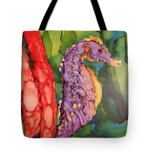 Tote Bag featuring the painting Seahorse Fantasy by Judy Mercer