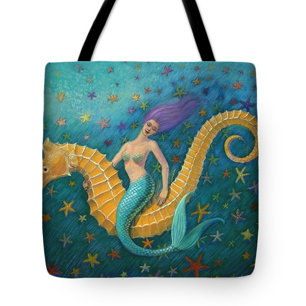 Tote Bag featuring the painting Seahorse Mermaid by Sue Halstenberg